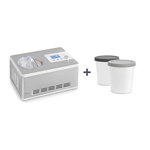 Eismaschine und Joghurtbereiter Elisa 2,0 L mit selbstkühlendem Kompressor 180 Watt von Springlane Kitchen Ice-Cream & Joghurt-Maker aus Edelstahl mit Kühl- und Heizfunktion, Abschaltautomatik