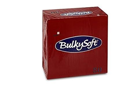 Bulky Soft BS 32057Serviettes 3Ply 1/4Fold 33x 33cm, bordeaux (Pack of 80)