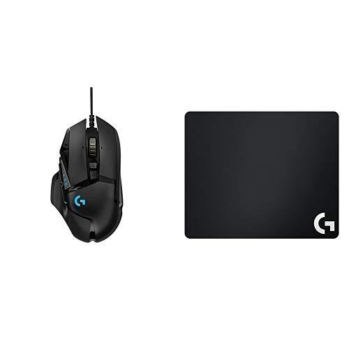 Logitech G502 HERO Mouse Gaming con Sensore HERO, RGB, 16.000 DPI, 11 Pulsanti e 5 Pesi Regolabili, Regolazione Bilanciamento, Pacchetto UE, Nero + G240 Tappetino per Mouse da Gioco, Nero/Antracite