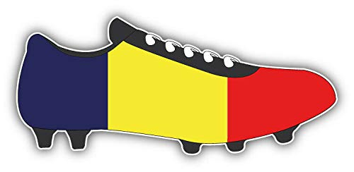 Tiukiu Romania Flag Soccer Cleats Vinyl Decal Sticker for Laptop Fridge Guitar Car Motorcycle Helmet Toolbox Luggage Cases 4 Inch In Width -