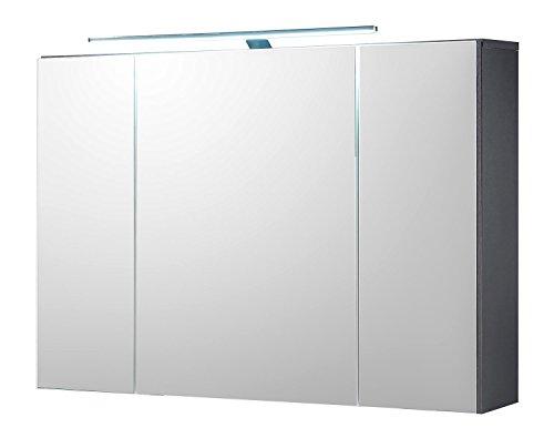 Badezimmerschrank Spiegelschrank | Grau | Türen | LED-Beleuchtung | Steckdose | Lichtschalter -