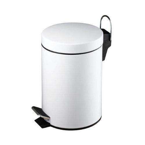 Exclusive Stainless Steel Cosmetic Pedal Bin - White 3L by 7th-AVE (White Steel-pedal-bin)