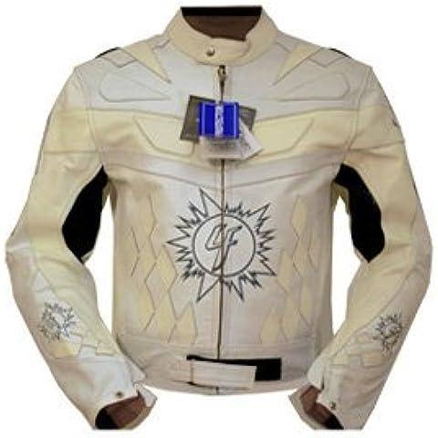 4limit Sports Biker moto chaqueta > > 4racing < < Chaqueta de cuero Chaqueta de moto, color blanco