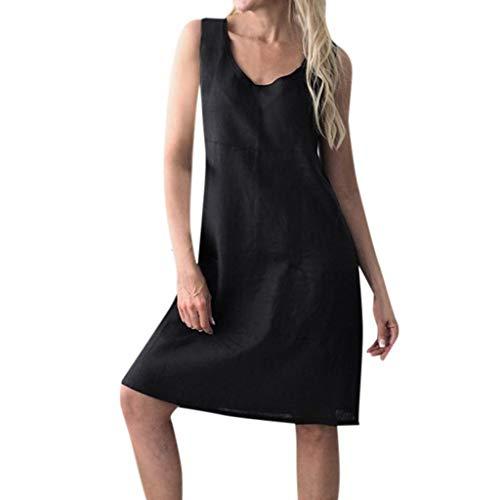 Go First Hot! Frau Baumwolle Und Leinen Mit Pocket Tank Top Kleid Monochrom Ärmelloses Kurzes Kleid Casual Large Size Rock (Color : Schwarz, Size : Asian XL= US L) (Jean Röcke Junioren)