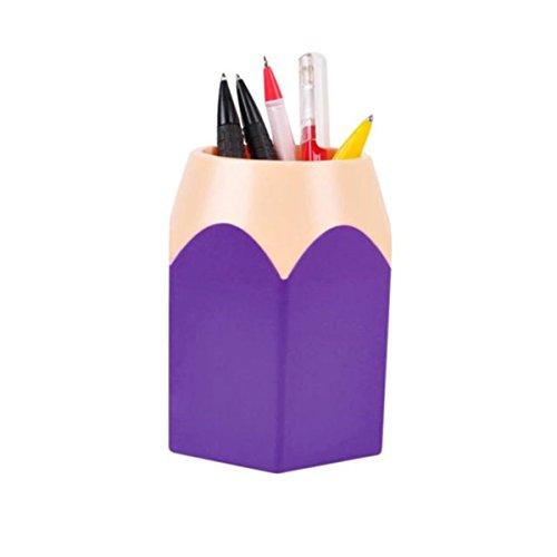 Kunststoffe Vasen Datenspeicher Bleistift Topf Pen Halter Makeup Pinsel Tasche Organisatoren Desk-Container (10.5x7.5cm, Violett)