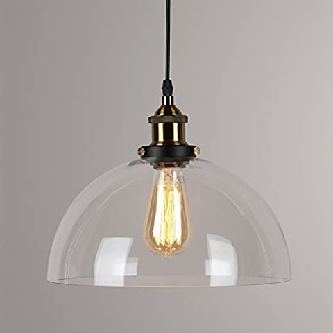 Lightess Industrial Vintage Glass Pendant Light Shade Retro Ceiling Lighting Restaurant Loft Coffee Bar Kitchen Hanging Pendant Ceiling Light