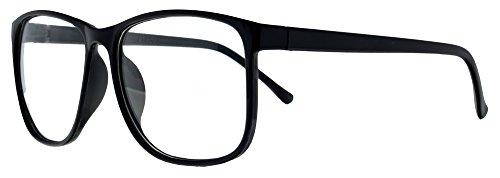 Retro Nerd Brille Klar - Die neue Kollektion - Wayfarer Brillenform für Sie und Ihn (Schwarz-Groß,...