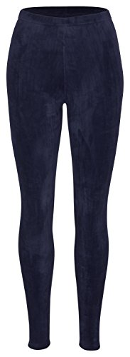 Piarini Winter-Leggings mit Teddy-Innenfleece | Thermo-Leggings extra kuschelig warm in Blau Gr.S-M