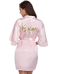 Vlazom Bride Bridesmaid Robes Satin Bridal Party Robe Dressing Gown e0b856b09