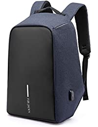 Fur Jaden Navy Anti Theft Casual Waterproof Backpack Bag with USB Charging Point