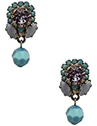 VICKISARGE Damen-Ohrringe Vergoldet Swarovski Kristall Blau Halbmondschliff