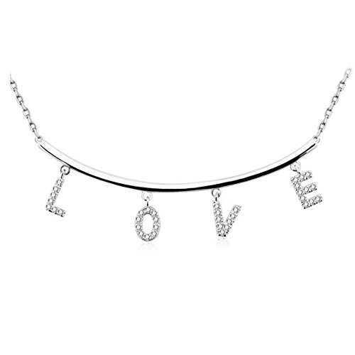 DUUMY Collier Fashion Fashion pour femmes avec LOVE Sterling Silver 925 silver