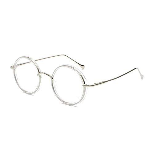 IOSHAPO Retro Runder Rahmen Brille Metall Vollbild Mode Freizeit Optische Gläser Unisex Transparente Linse - Freizeit Metall