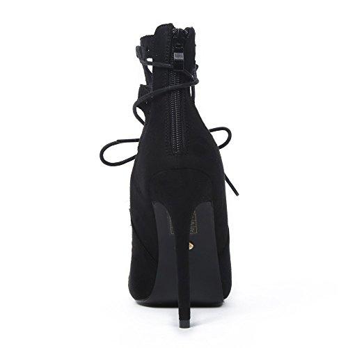 Ideal Shoes Sandales Effet Daim et Ajourées avec Lacets Entrecroisés Jalana Noir