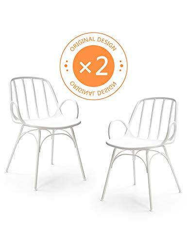 Suhu Stuhl Retro 2er Set Esszimmerstühle Designer Sessel Esstisch Modern Küchenstühle Gartenstuhl Loungesessel Vintage Schalenstuhl Plastik Mit Metallfüße Essstuhl Weiß