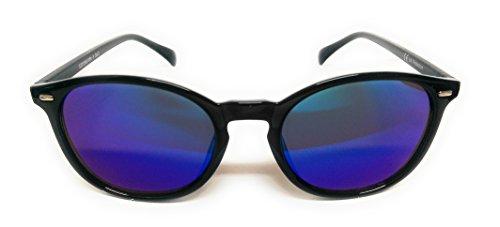 Takestop® occhiali da sole a goccia ovali con lenti colorate con custodia donna uomo unisex specchio specchiati outfit telaio in metallo polarizzato uv protezione uv400 (nero / bicolore)