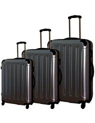 FINEO® 3-tlg. Hartschalen-Kofferset Ultra-Light 4 Rollen 360° aus Polycarbonat/ABS Trolley Koffer Reisekoffer +25% DEHNFALTE