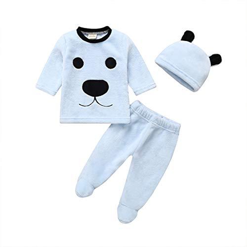 Poachers Poachers 3 Stücke Winter Neugeborenes Baby Jungen Cartoon Tops Hosen Outfits Flauschige Warme Kleidung