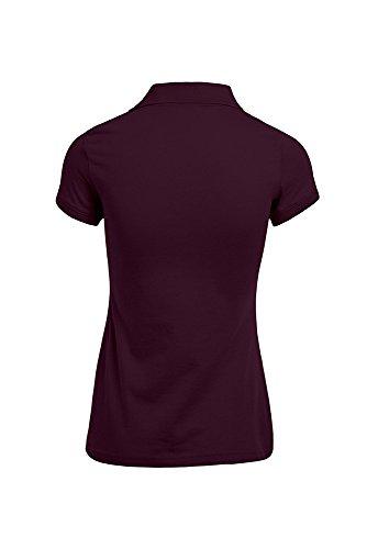 Polo femme en jersey simple bourgogne / noir