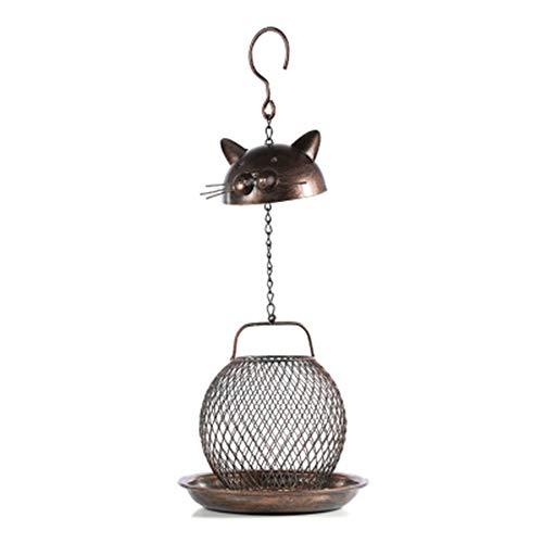 Yhjkvl-HO Vogelhäuschen Nette Katze-Form-Metall Bird Feeder Haus Hof Kabine Einfache Reinigung u Refills Vogelfutterspender for den Außenbereich hängende Dekoration Vögel Tabelle Freistehend -