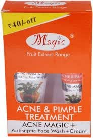 MAGIC FRUIT EXTRACT RANGE ACNE & PIMPLE TREATMENT (ACNE MAGIC+ANTISEPTIC FACE WASH +CREAM