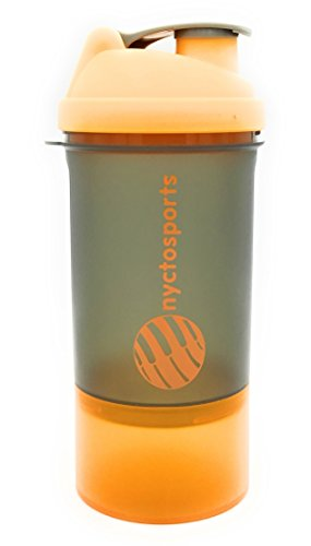 Nyctosports BPA Free Gym Protein Shaker Sipper Bottle With One Storage Compartment, 500 Ml
