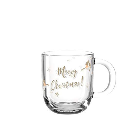 LEONARDO - Aurora im Geschenkkarton - Merry Christmas Engel - Tasse/Becher/Glas - H: 15cm / Ø 9cm / Volumen: 400ml
