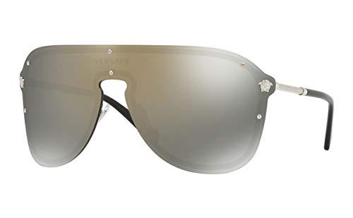 Versace Damen 0VE2180 10005A 44 Sonnenbrille, Silber (Silver/Darkgreymirrorgold),