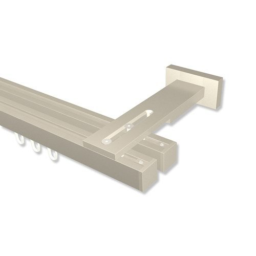 Interdeco Innenlauf-Gardinenstangen eckig Satin-Silber doppelläufig 20x20 mm Quadline (Multi) Sono, 220 cm