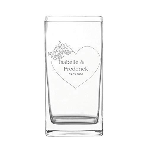Geschenke.de Gravierte Leonardo Vase zur Hochzeit - Blumenvase als Hochzeitsgeschenk für Brautpaar