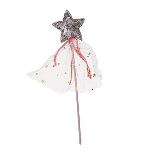 Baoblaze Glänzende Sternform Prinzessin Fairy Wands Für Kinder Mädchen Party Supplies