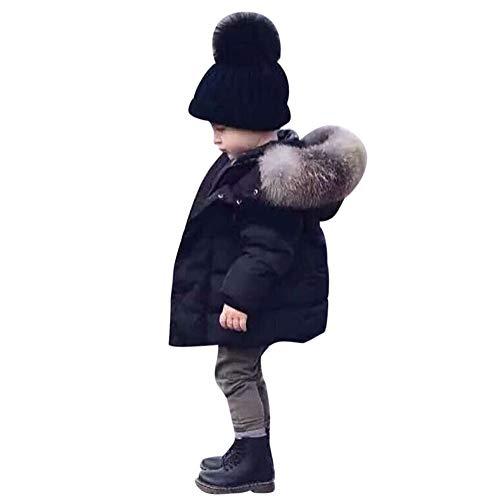 Babykleidung Honestyi Baby Mädchen Jungen Winter Baumwollmit Kapuzen Mantel Jacken starkem Warmem Reißverschluss Outwear Kleidung (Schwarz,100)