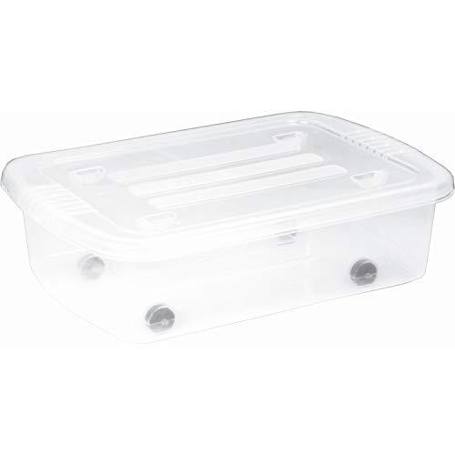 Plast Team Home Box Bedroller Unterbettbox mit Rollen Aufbewahrungsbox 25L 580 x 385 x 165 mm