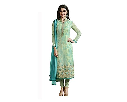 BigBen Textile women's semi-stitched georgette dress material (green)