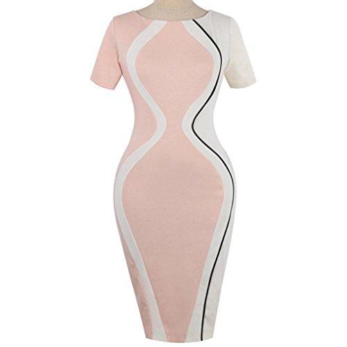 d9161fd33eeeff ... LILICAT Damen Elegant Etuikleid Retro Bodycon Kleid Vintage Rundhals  Kurzarm Kleid Patykleid Abendkleid Knie-Kleid ...