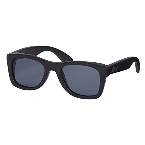 Nebelkind Unisex Wayfarer Holz Sonnenbrille Pitch Black mit Bambus Etui Schwarz Grau One Size