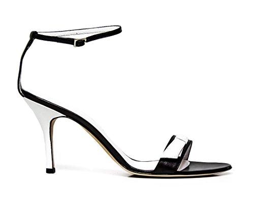 Studio Pollini sandalo con tacco S16680DXL20A bianco e nero