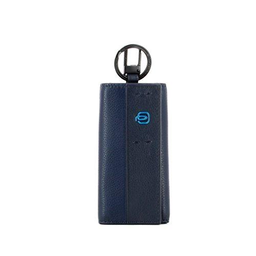 Piquadro Portachiavi Collezione Pulse, Pelle, Blu Notte, 12 cm