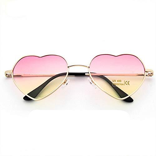 GJYANJING Sonnenbrille Herz Sonnenbrille Frauen Liebe Mode Spiegel Sonnenbrille Vintage Herz Brille Metallrahmen Brillen Uv400