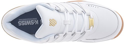K-Swiss BAXTER, Sneakers basses homme Blanc (White/Gold/Gum 137)