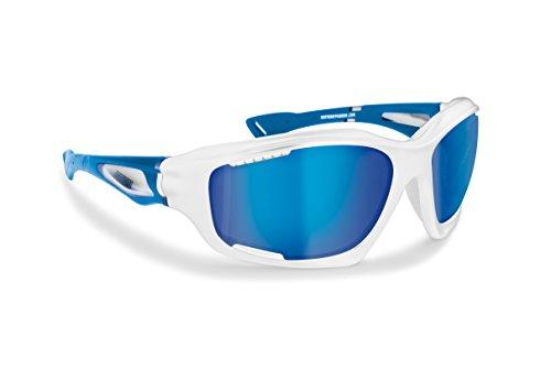 Gafas Deportivas Polarizadas Hidrofóbicas - Envolventes a Prueba de Viento - para Ciclismo Carrera Deporte Acuaticos Esqui Pesca Kitesurf by Bertoni Italy - P1000 (shiny white / mat royal blue, polarized blue iridium)