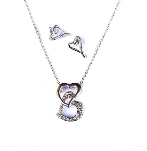 ge Glaskristall herzförmig Kettenlänge Brautjungfer TWIN Braut Schmuckset Kleid (Kostüme Verkauf Online)