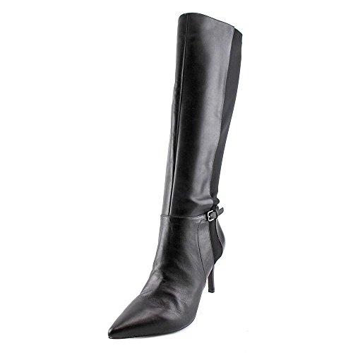 Nine West Spikedo Spitz Leder Mode-Knie hoch Stiefel Black/Black