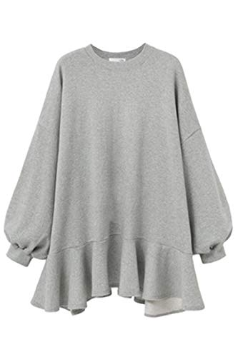 Damen Sweatershirt Kleid Puff Ärmel Verstimmen Saum Mini - Kleid grau M -