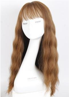 Preisvergleich Produktbild AN-LKYIQI Natürliche flauschige lockiges Haar Mais große Welle der Heißluft-Simulation von großen Kopfhaut Perücke Pony
