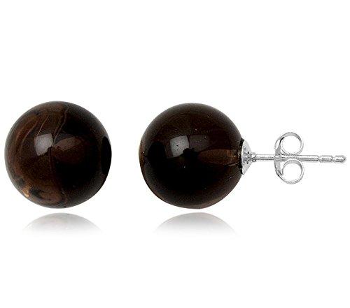 EYS JEWELRY Damen-Ohrstecker Perlen 925 Sterling Silber Rauchquarz 12 x 12 mm braun Ohrringe