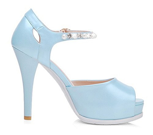... Aisun Damen Modern Kunstleder Peep Toe Plateau Strass Künstlich Perlen  Riemchen Trichterabsatz Sandale Blau ...