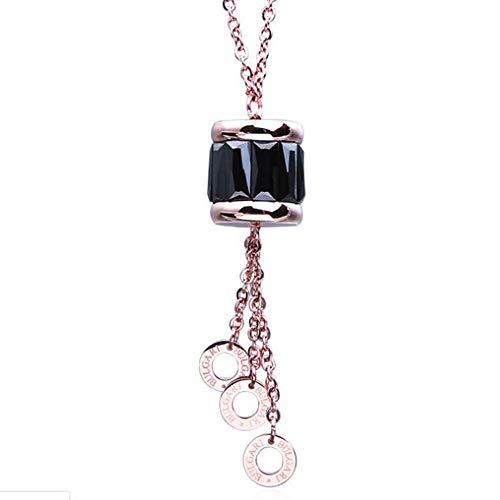 WANGLXTC Mode Titan Stahl Halskette. Nicht Einfach Zu Tragen, Nicht Einfach Die Farbe Zu ändern. Für Jeden Anlass Geeignet. Gute Wahl Als Geschenk, Inklusive Geschenkbox Exquisit, Rose Gold