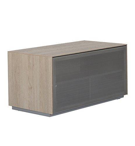Outline 850 Meuble TV AV Support - perforé en Aluminium Porte en Maille Filet - Idéal pour Barres de Son - Design Anglais 850mm Chêne Naturel