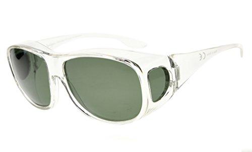 Eyekepper Überzieh-Sonnenbrille für Herren | Sonnen-Überbrille UV400 | polarisiert | Fit-over Polbrille für Brillenträger Klare Rahmen